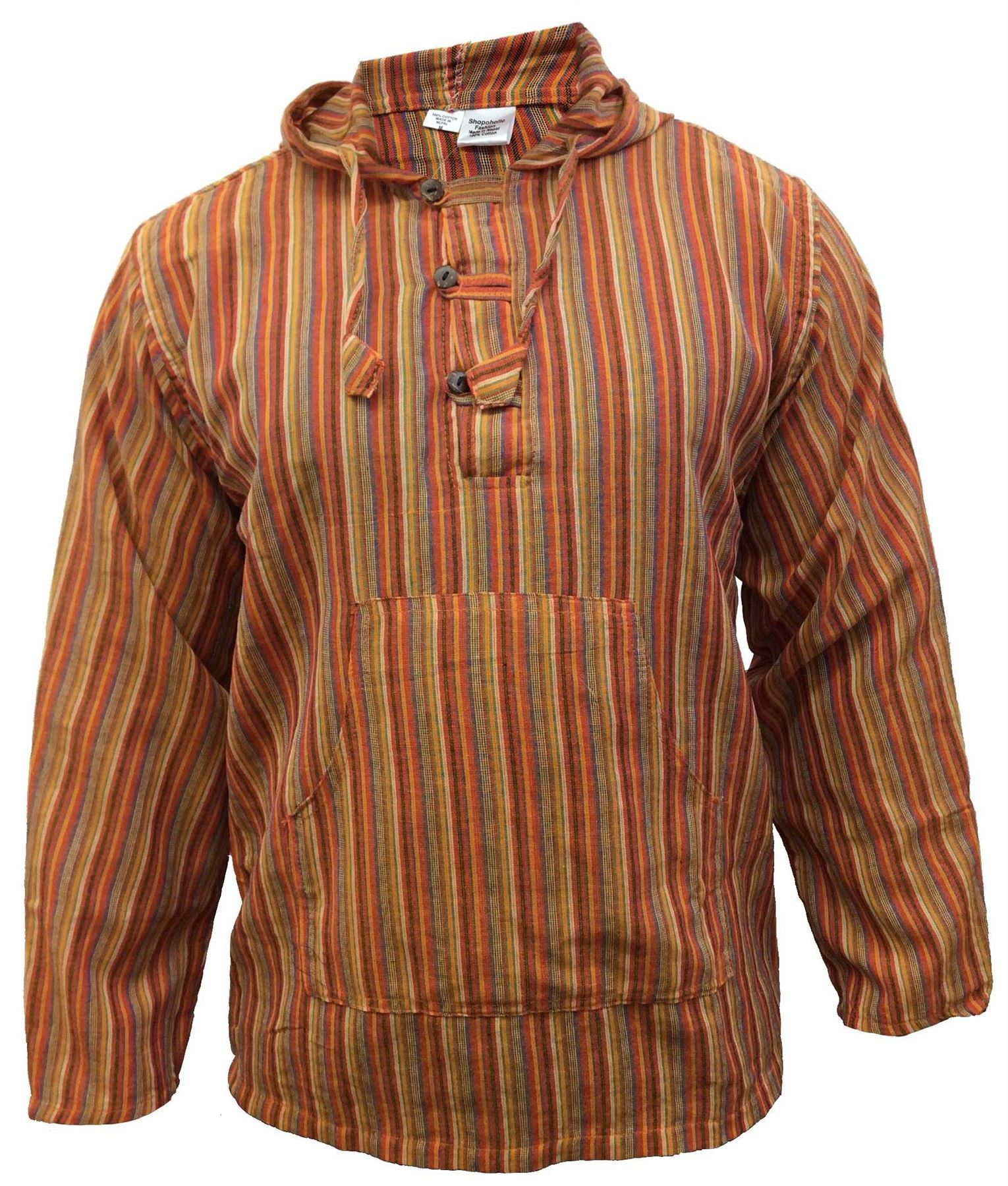 Men-039-s-Cotton-Grandad-Shirt-Full-Sleeved-Hippie-Top-Festival-Stripe-Hippy-Hoodie thumbnail 23