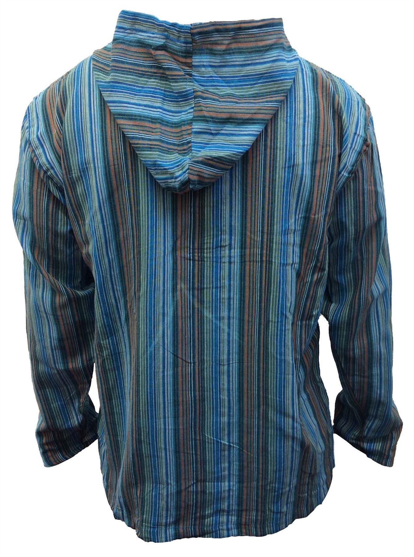 Men-039-s-Cotton-Grandad-Shirt-Full-Sleeved-Hippie-Top-Festival-Stripe-Hippy-Hoodie thumbnail 28