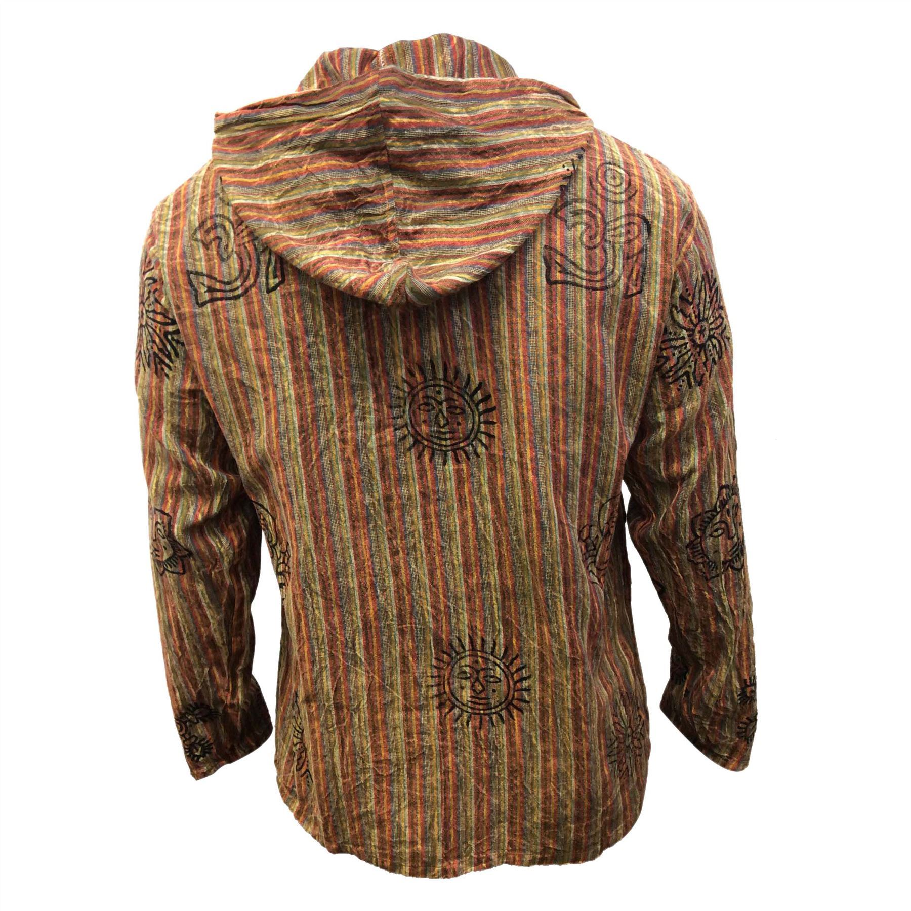 Mens-Stonewashed-Striped-Hooded-Grandad-Shirt-Long-Sleeve-Casual-Hooded-Top thumbnail 22