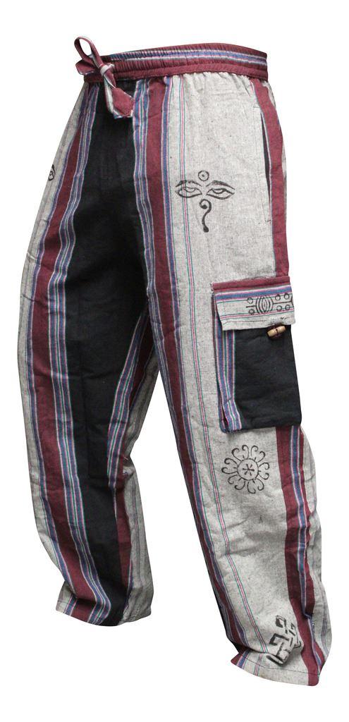 Para Hombres Pantalones Hippie Patchwork Bolsillos Cargo Pantalones Informales De Combate Hippy Festival Ebay