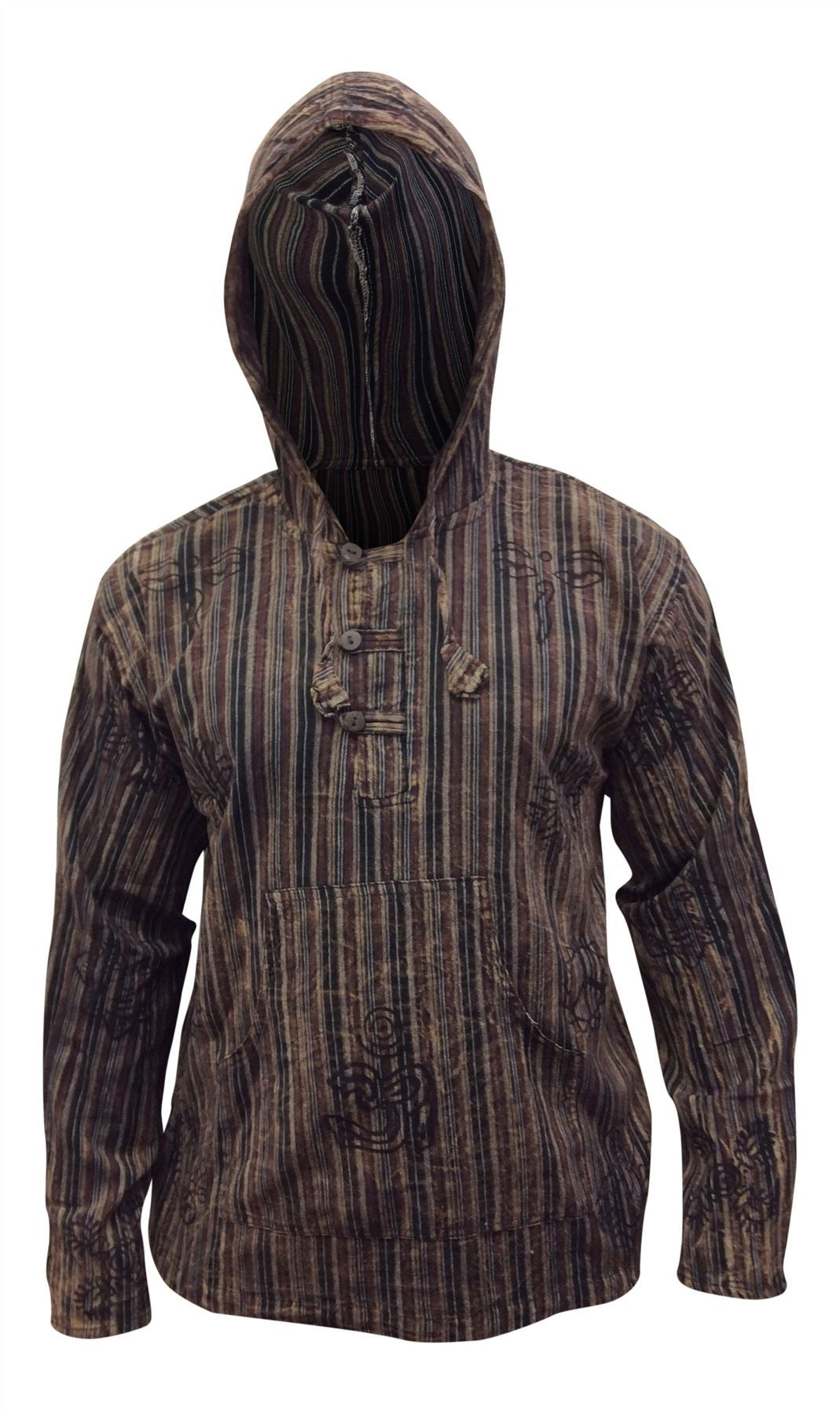Mens-Stonewashed-Striped-Hooded-Grandad-Shirt-Long-Sleeve-Casual-Hooded-Top thumbnail 9
