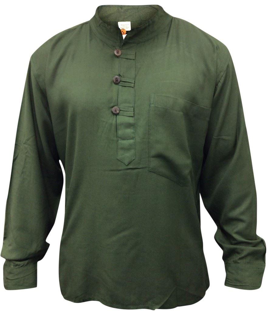 Men hippie linen collarless grandad shirt full sleeve boho Mens grandad collar shirt