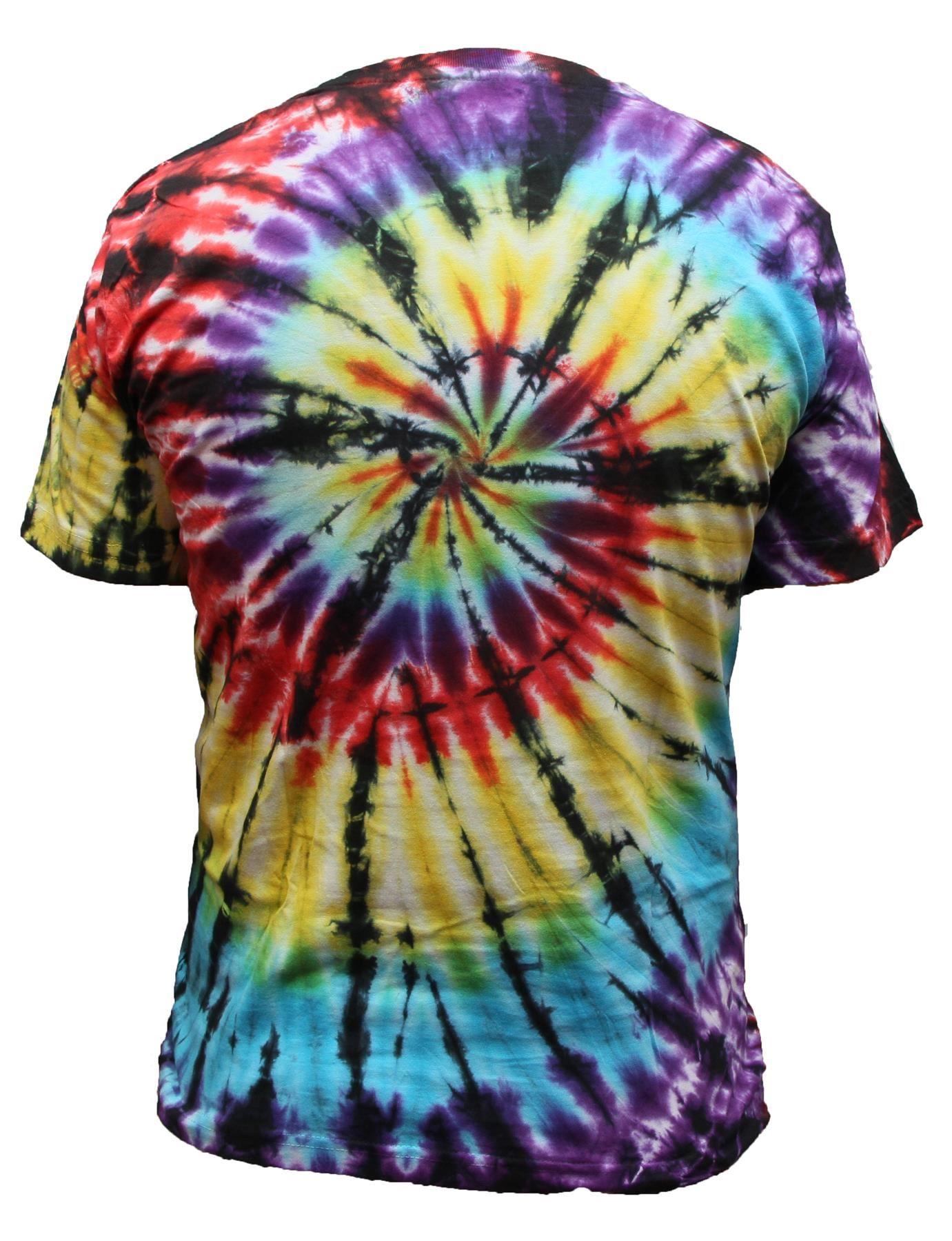 Tie-Dye-T-Shirt-Music-Festival-Tye-Dye-Tee-Hipster-Retro-Unisex-Short-Sleeve-Top thumbnail 9