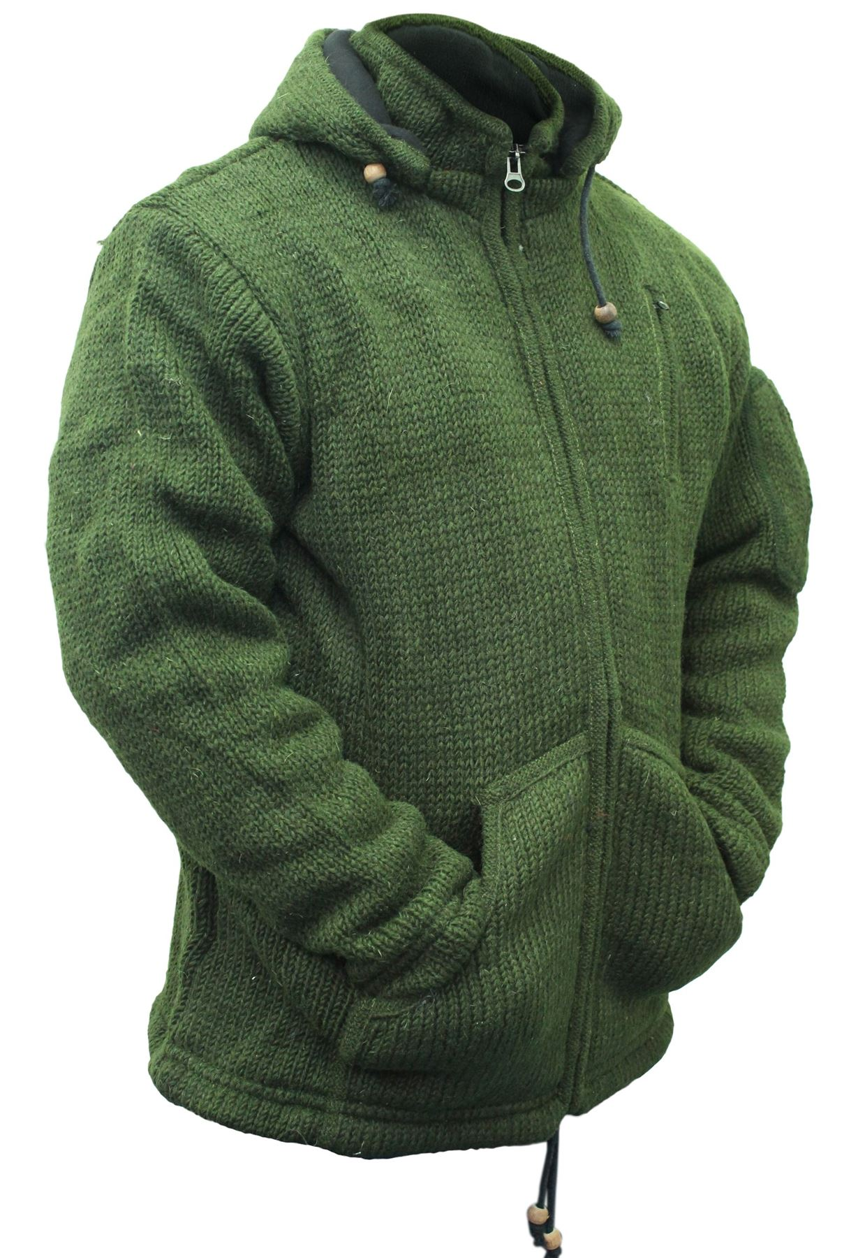 Very Mens Detachable Hoodie Hippie Jacket festival fleece Lined Winter  RI53