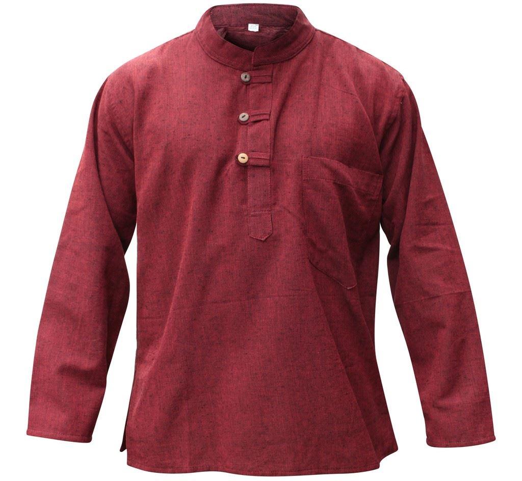 Mens-Plain-Hemp-Collarless-Grandad-Shirt-Full-Sleeved-Hippie-Summer-Light-Tops thumbnail 19