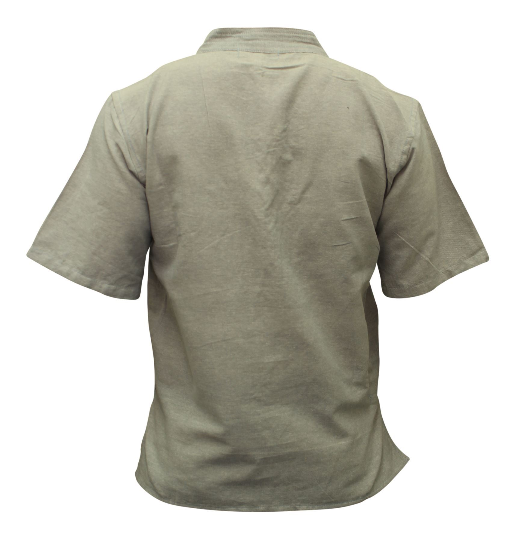 Mens-Hemp-Half-Sleeved-Hippy-Grandad-Shirts-Collarless-Ethnic-Festival-Boho-Tops thumbnail 8