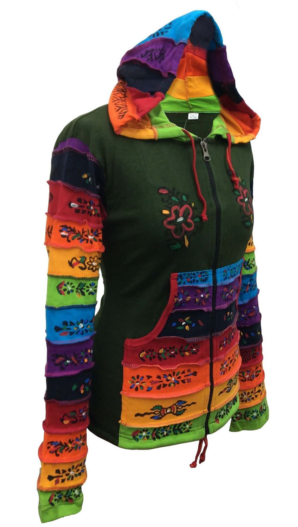 Women-Rainbow-Sleeved-Flower-Patch-Hoodie-Hippy-Light-Weight-Jacket thumbnail 5