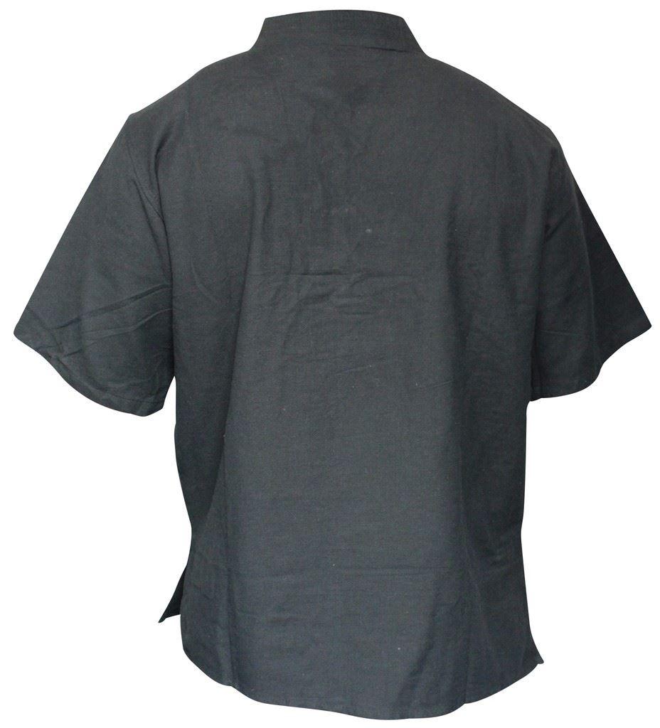 Mens-Hemp-Half-Sleeved-Hippy-Grandad-Shirts-Collarless-Ethnic-Festival-Boho-Tops thumbnail 3