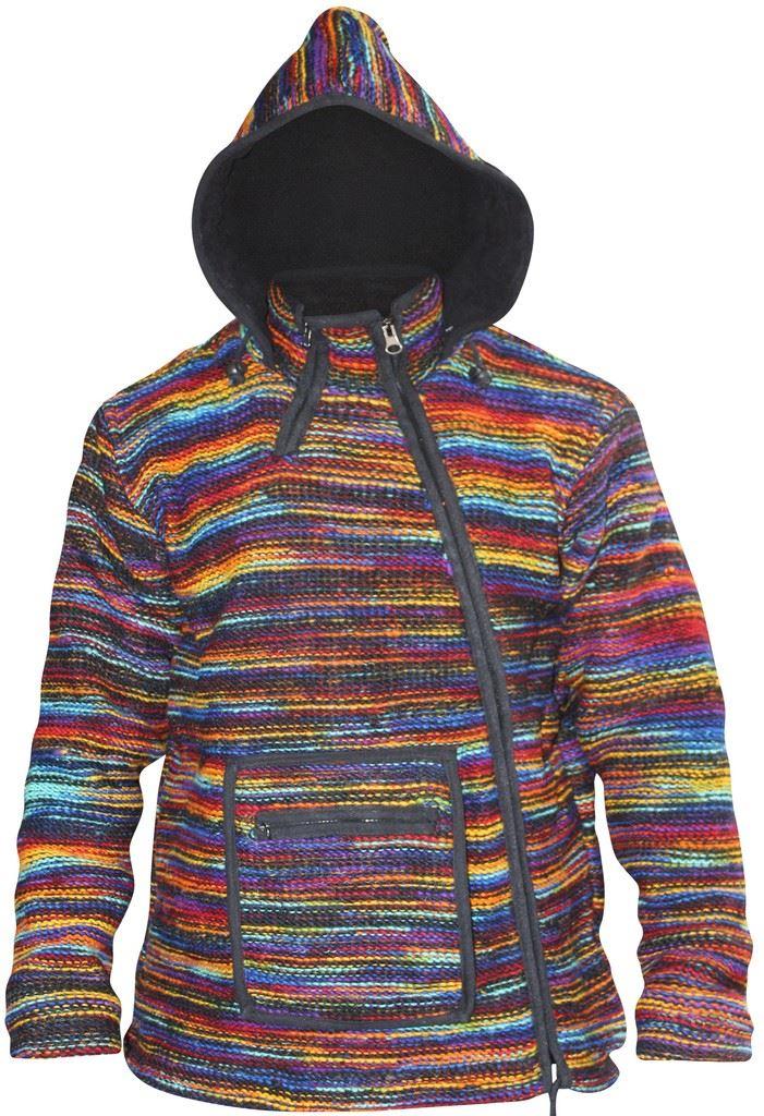 Mens-Hippie-Winter-Coat-Tyedye-Jacket-Fleece-Lined-Hoodie-Wool-Festival-Sweater thumbnail 11