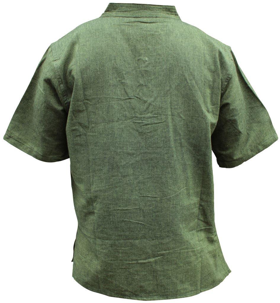 Mens-Hemp-Half-Sleeved-Hippy-Grandad-Shirts-Collarless-Ethnic-Festival-Boho-Tops thumbnail 5