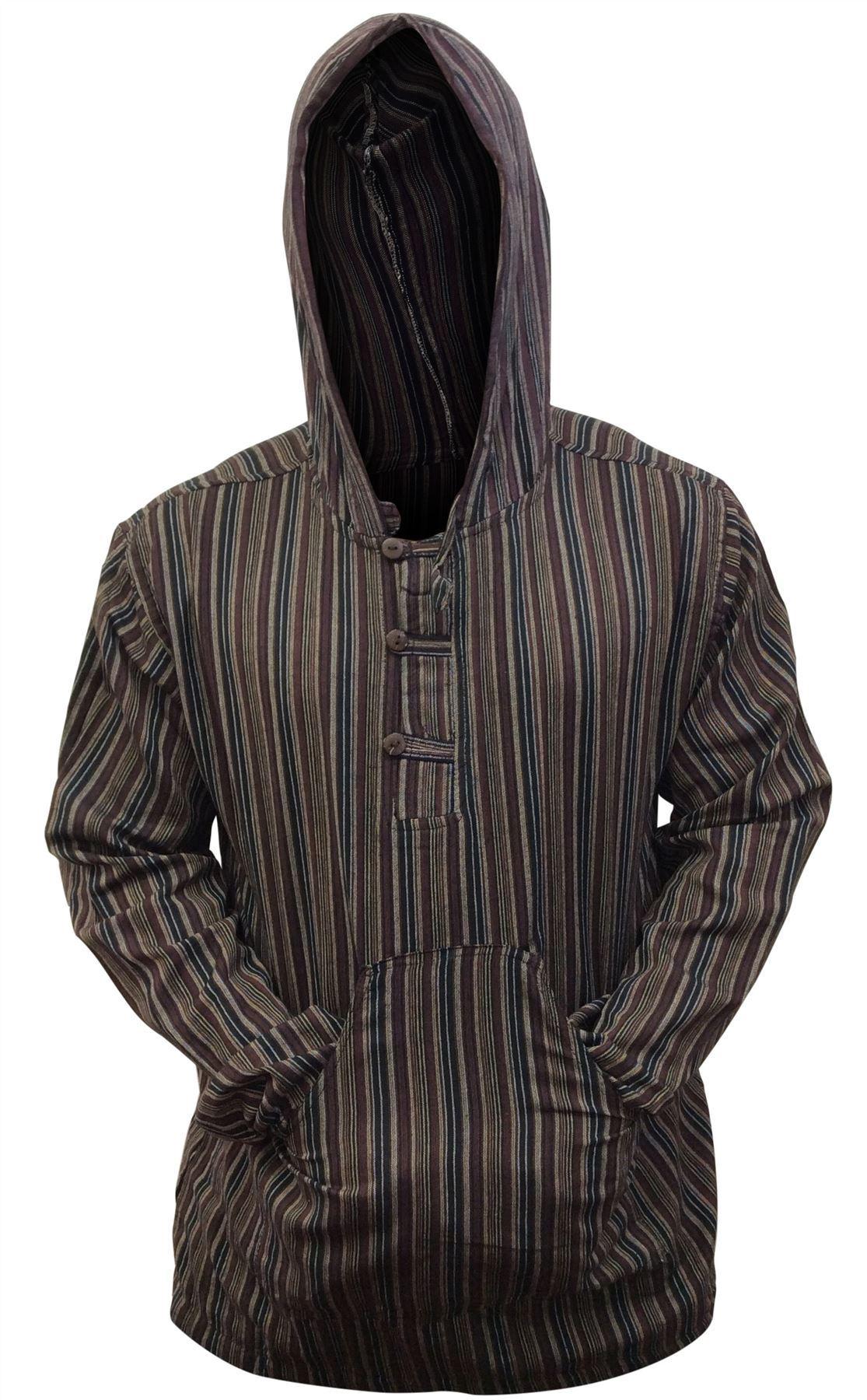Men-039-s-Cotton-Grandad-Shirt-Full-Sleeved-Hippie-Top-Festival-Stripe-Hippy-Hoodie thumbnail 10