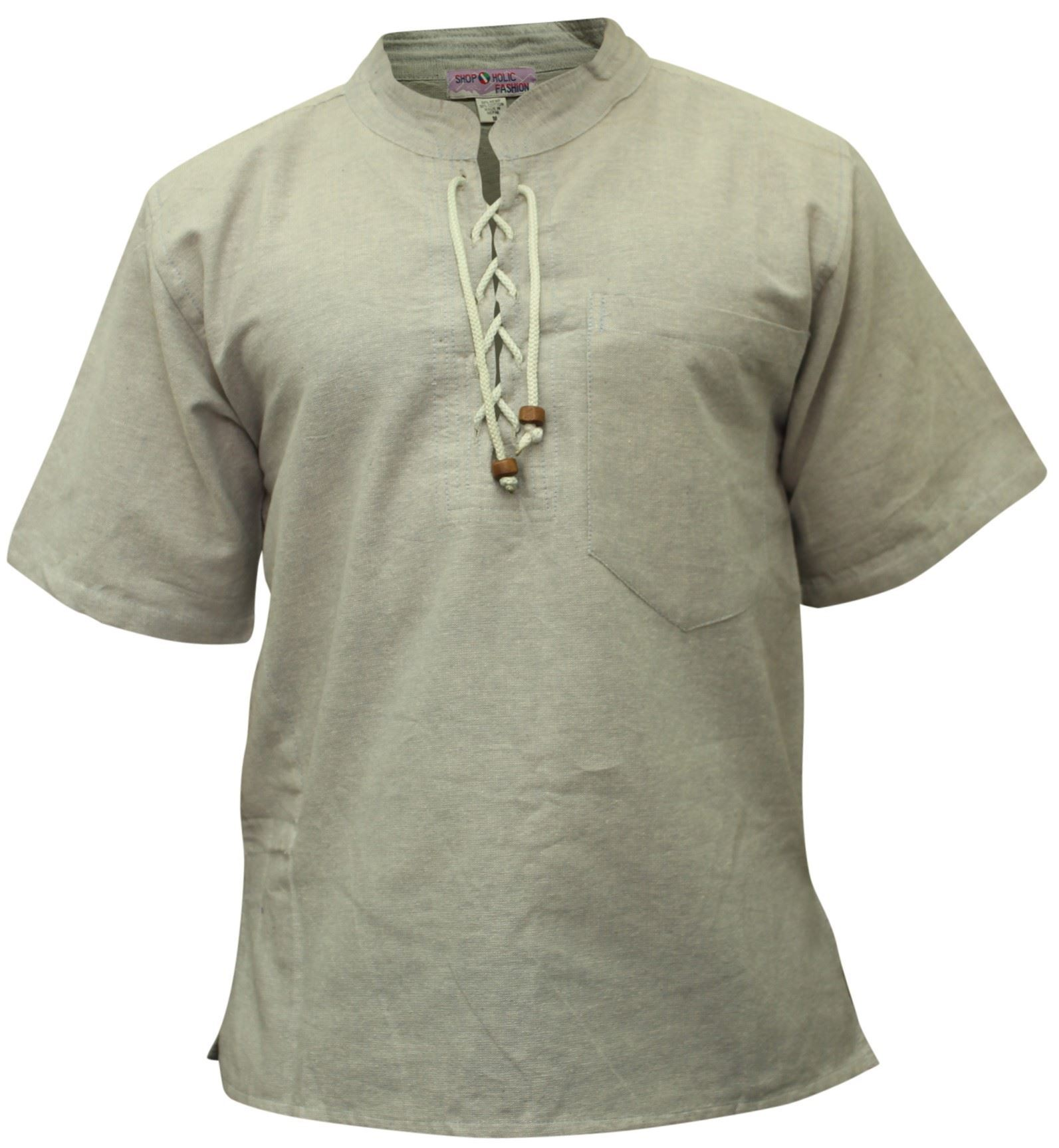 Mens Hemp Half Sleeved Hippy Grandad Shirts Collarless ...