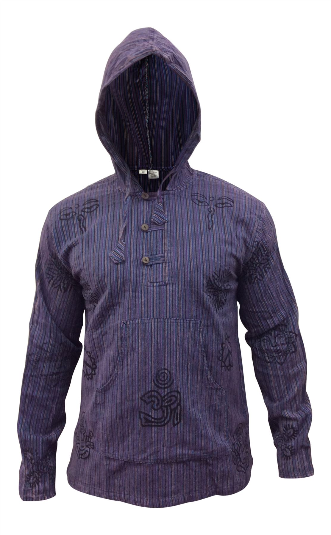 Mens-Stonewashed-Striped-Hooded-Grandad-Shirt-Long-Sleeve-Casual-Hooded-Top thumbnail 24