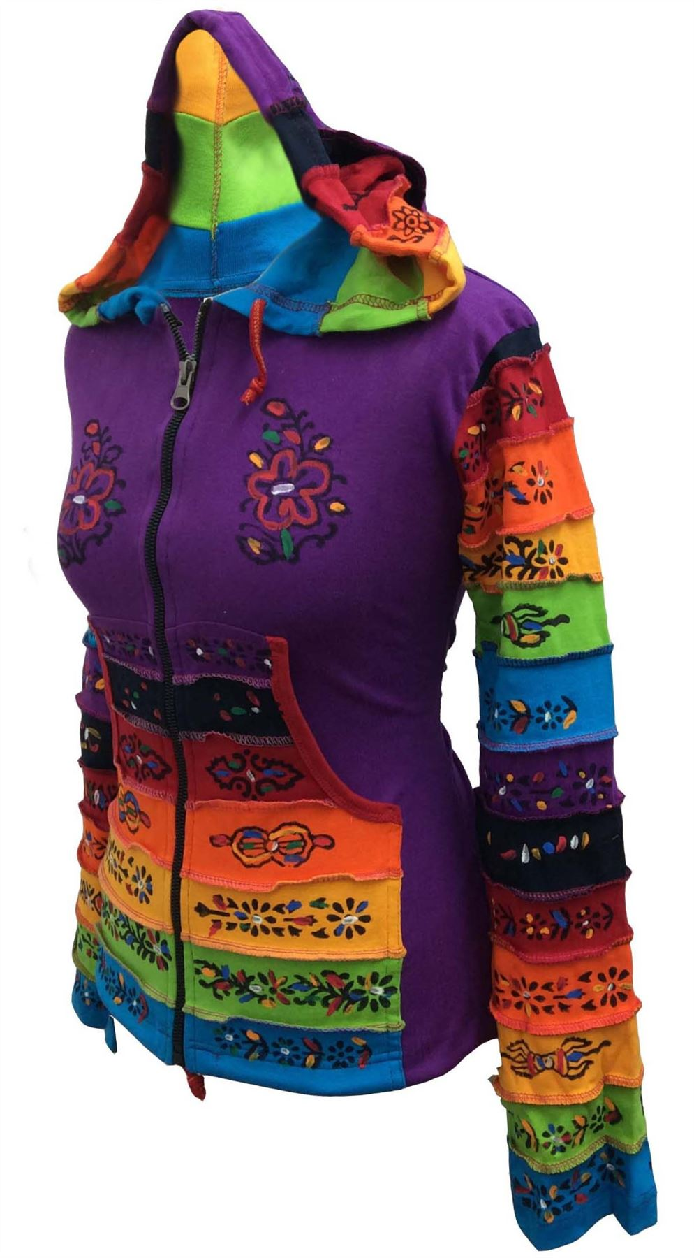Women-Rainbow-Sleeved-Flower-Patch-Hoodie-Hippy-Light-Weight-Jacket thumbnail 9