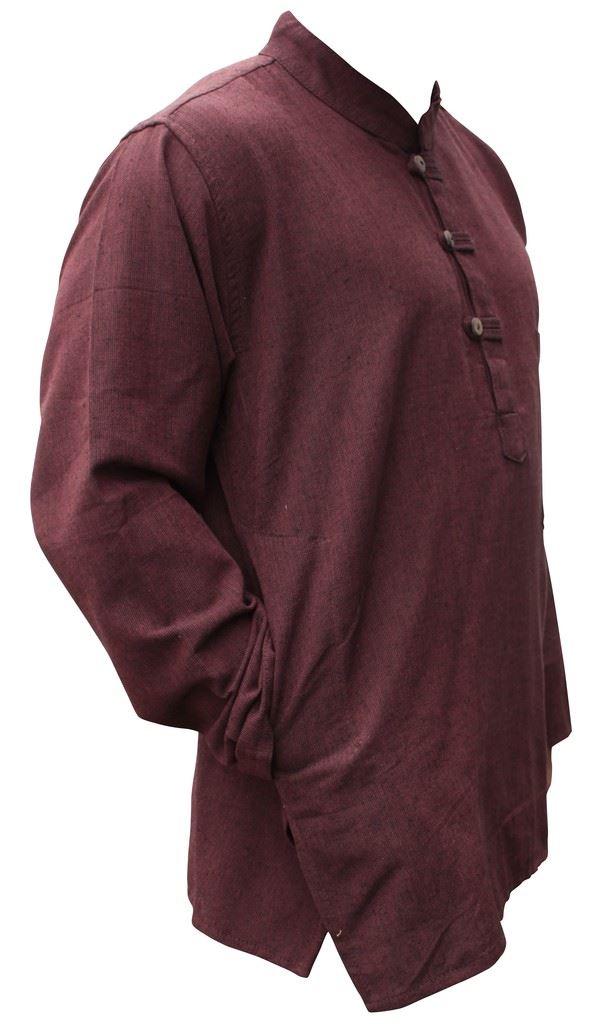 Mens-Plain-Hemp-Collarless-Grandad-Shirt-Full-Sleeved-Hippie-Summer-Light-Tops thumbnail 6