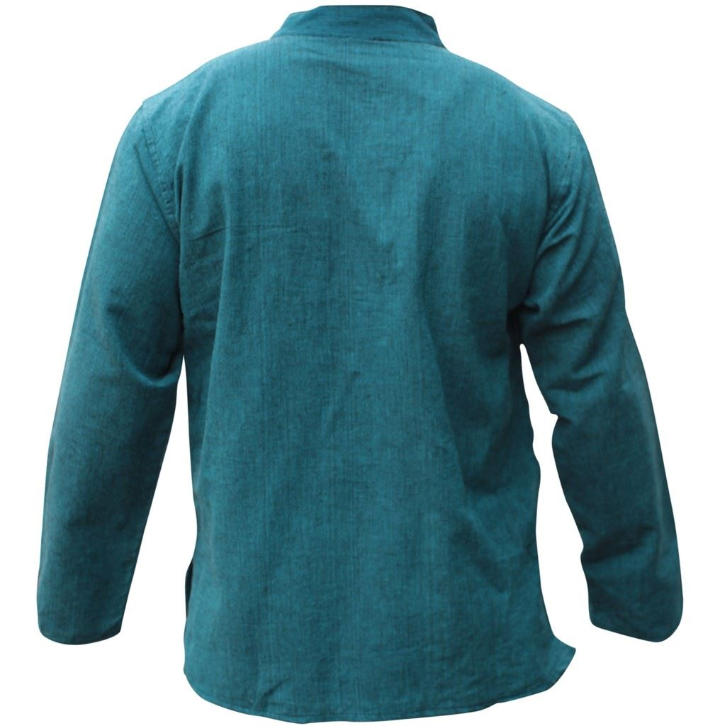 Mens-Plain-Hemp-Collarless-Grandad-Shirt-Full-Sleeved-Hippie-Summer-Light-Tops thumbnail 27