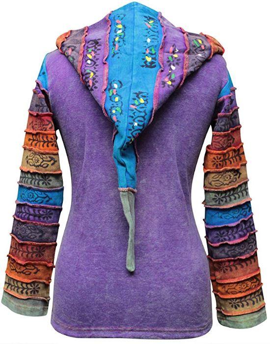 Women-039-s-Sun-Patchwork-Pixie-Hippy-Ribs-Hoodie-Light-Cotton-Hippie-Faded-Jacket thumbnail 15