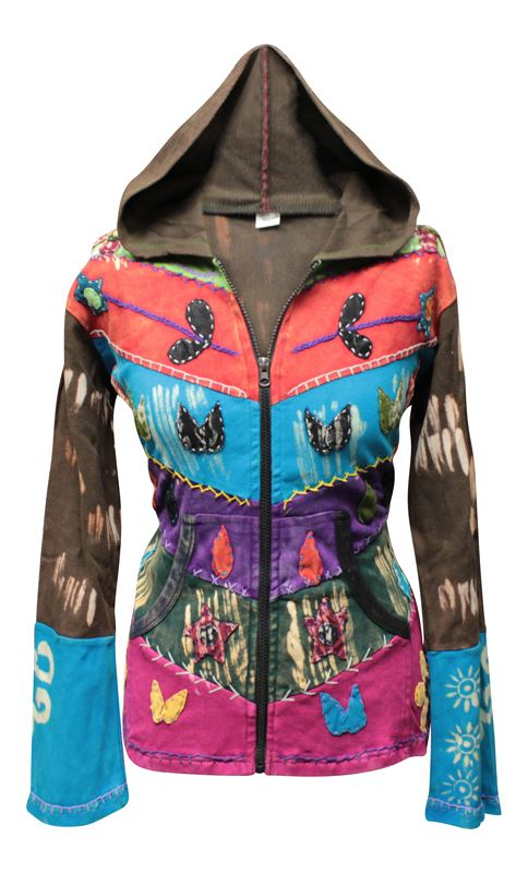 Women-Grunge-Emo-Goth-Hippie-Boho-Punk-Gypsy-Women-Festival-Hoodie-Retro-jacket thumbnail 4