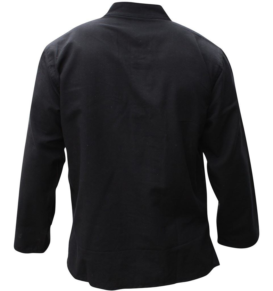 Mens-Plain-Hemp-Collarless-Grandad-Shirt-Full-Sleeved-Hippie-Summer-Light-Tops thumbnail 4