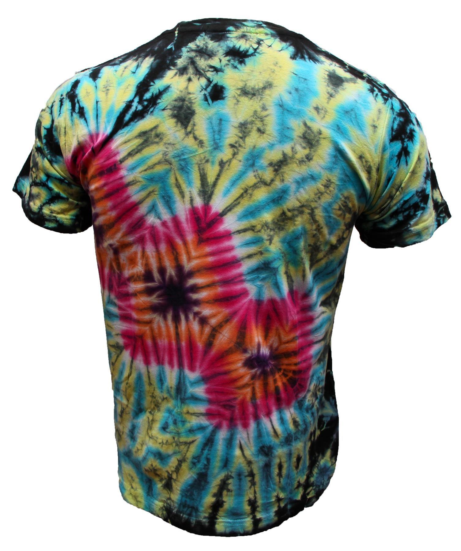 Tie-Dye-T-Shirt-Music-Festival-Tye-Dye-Tee-Hipster-Retro-Unisex-Short-Sleeve-Top thumbnail 19