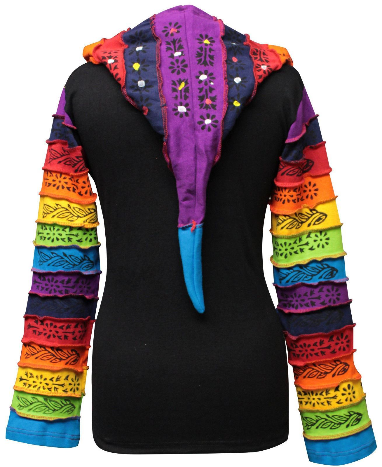 Women-Rainbow-Sleeved-Flower-Patch-Hoodie-Hippy-Light-Weight-Jacket thumbnail 3