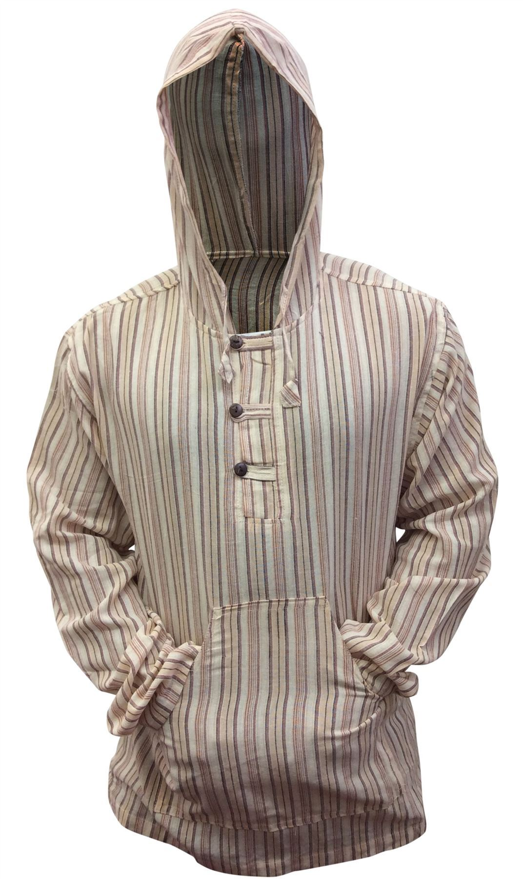 Men-039-s-Cotton-Grandad-Shirt-Full-Sleeved-Hippie-Top-Festival-Stripe-Hippy-Hoodie thumbnail 14