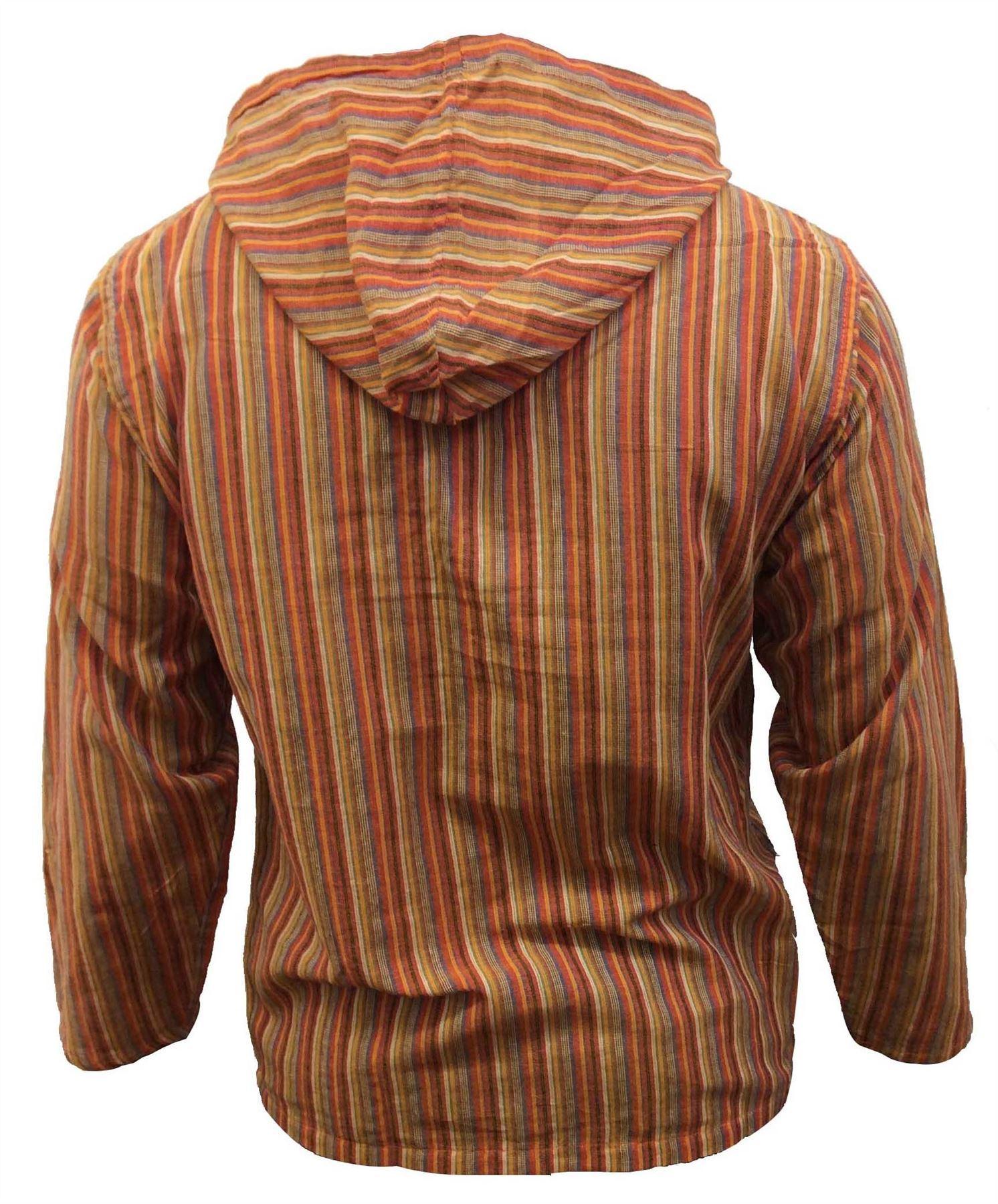 Men-039-s-Cotton-Grandad-Shirt-Full-Sleeved-Hippie-Top-Festival-Stripe-Hippy-Hoodie thumbnail 24