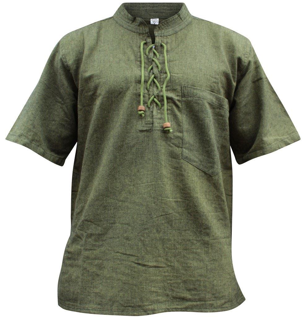 Mens Hemp Half Sleeved Hippy Grandad Shirts Collarless