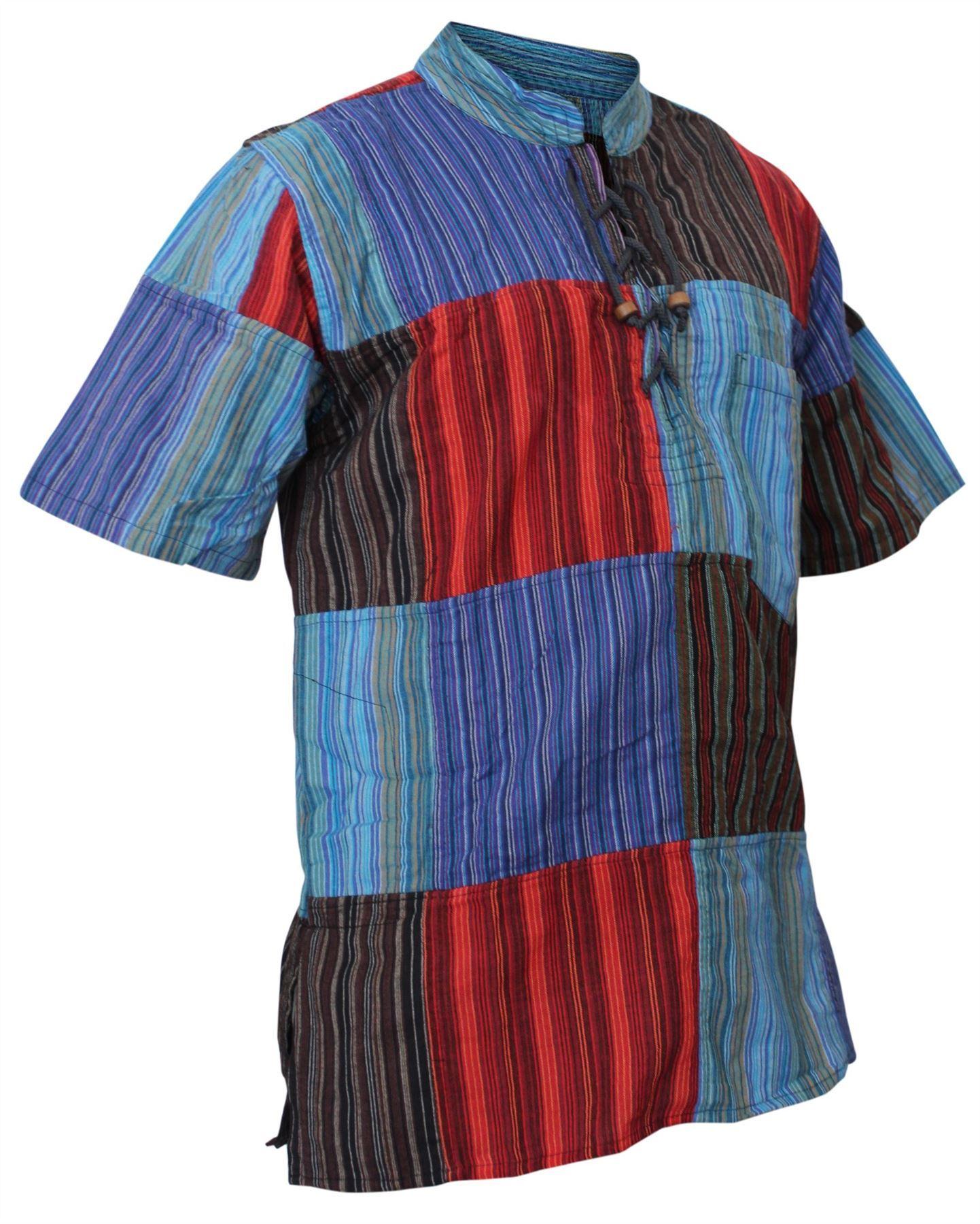Mens-Short-Sleeved-Colorful-Hippie-Grandad-Shirt-Summer-Festival-Cotton-Men-Tops thumbnail 5