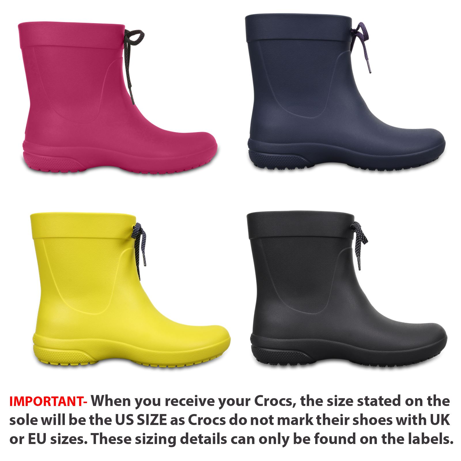 Crocs Freesail Shorty Rain Women Roomy Fit Wellington Boots 203851 ... d66953e32a