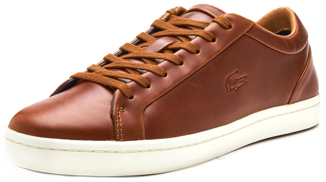 4822c131b Lacoste Straightset 317 1 CAM Leather Trainers in Brown 734CAM0058 ...