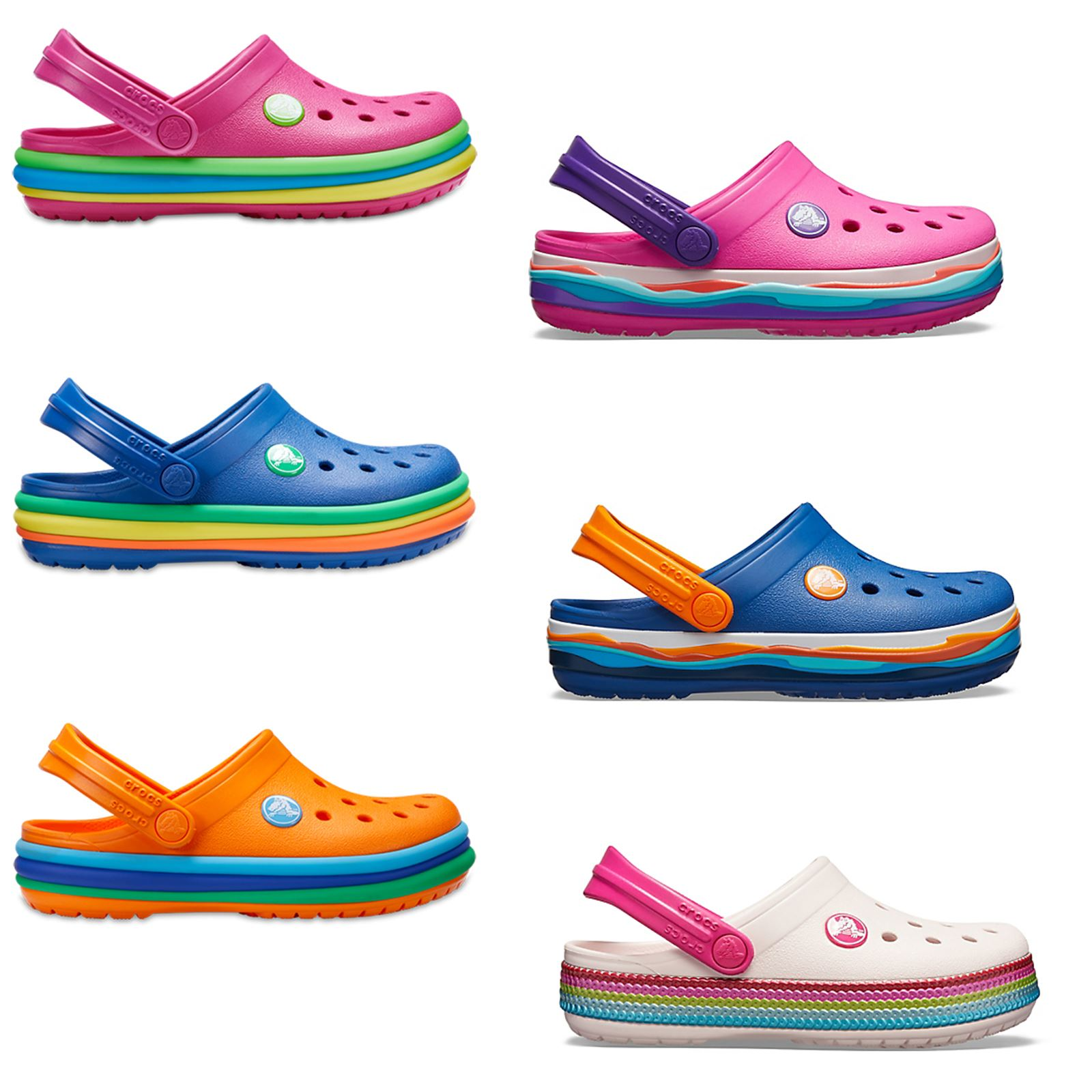 official photos ba5ee 053ae Crocs Kinder Crocband Regenbogen Gewellt Pailletten Relaxed Fit Clogs Rosa  Blau | eBay