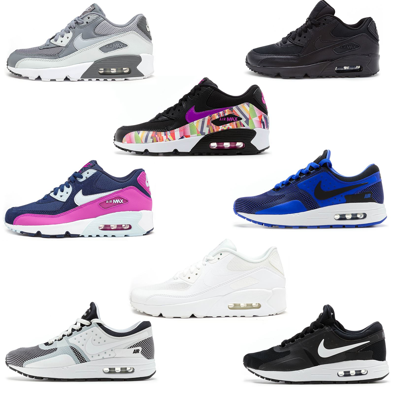 c22e8e8218 Details about Nike Air Max 90 & Zero GS Fashion Leather Glow Mesh Trainers  All Sizes