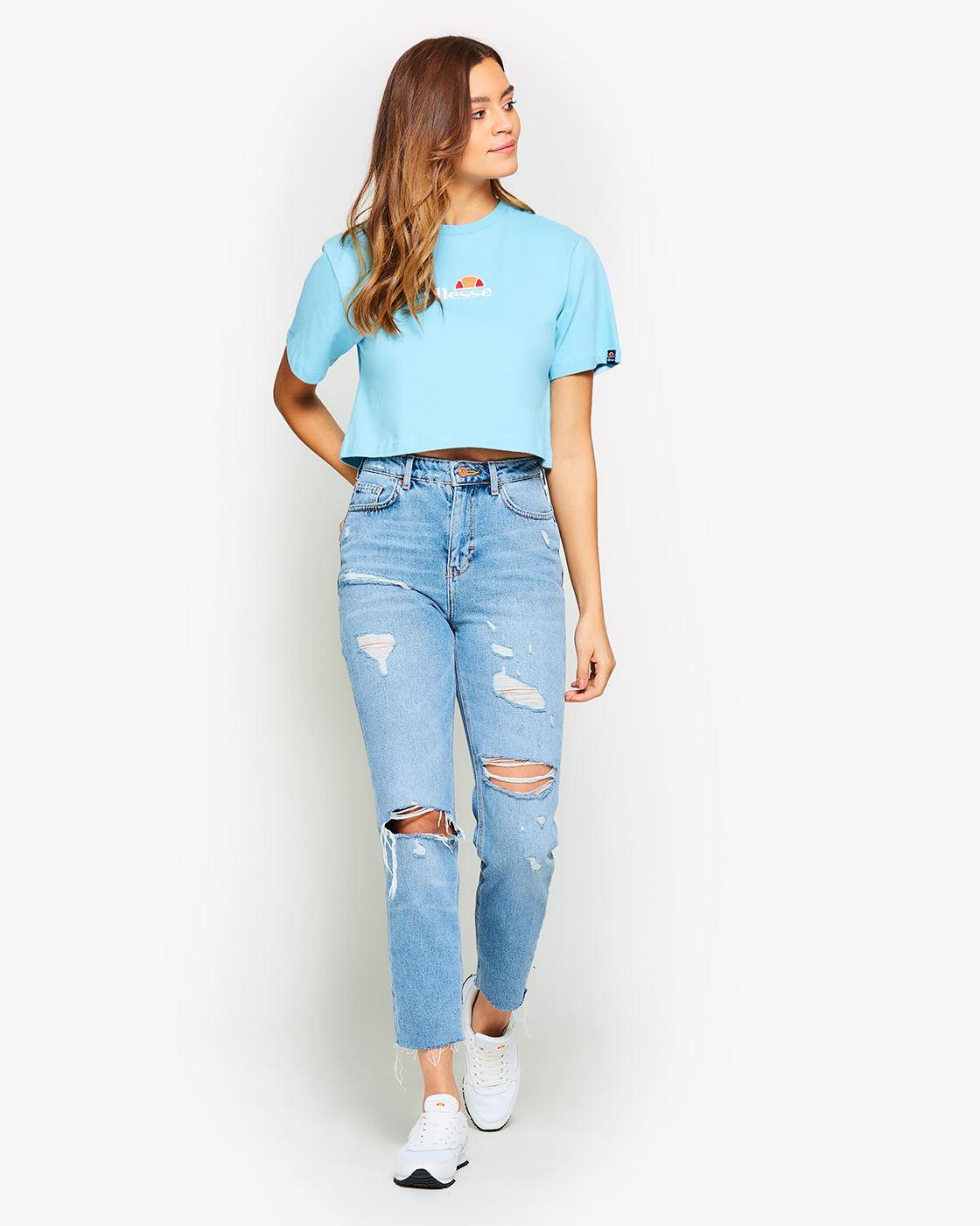 Ellesse-Women-Crop-Cotton-T-Shirt-Summer-Top-in-Pastel-Colours thumbnail 5