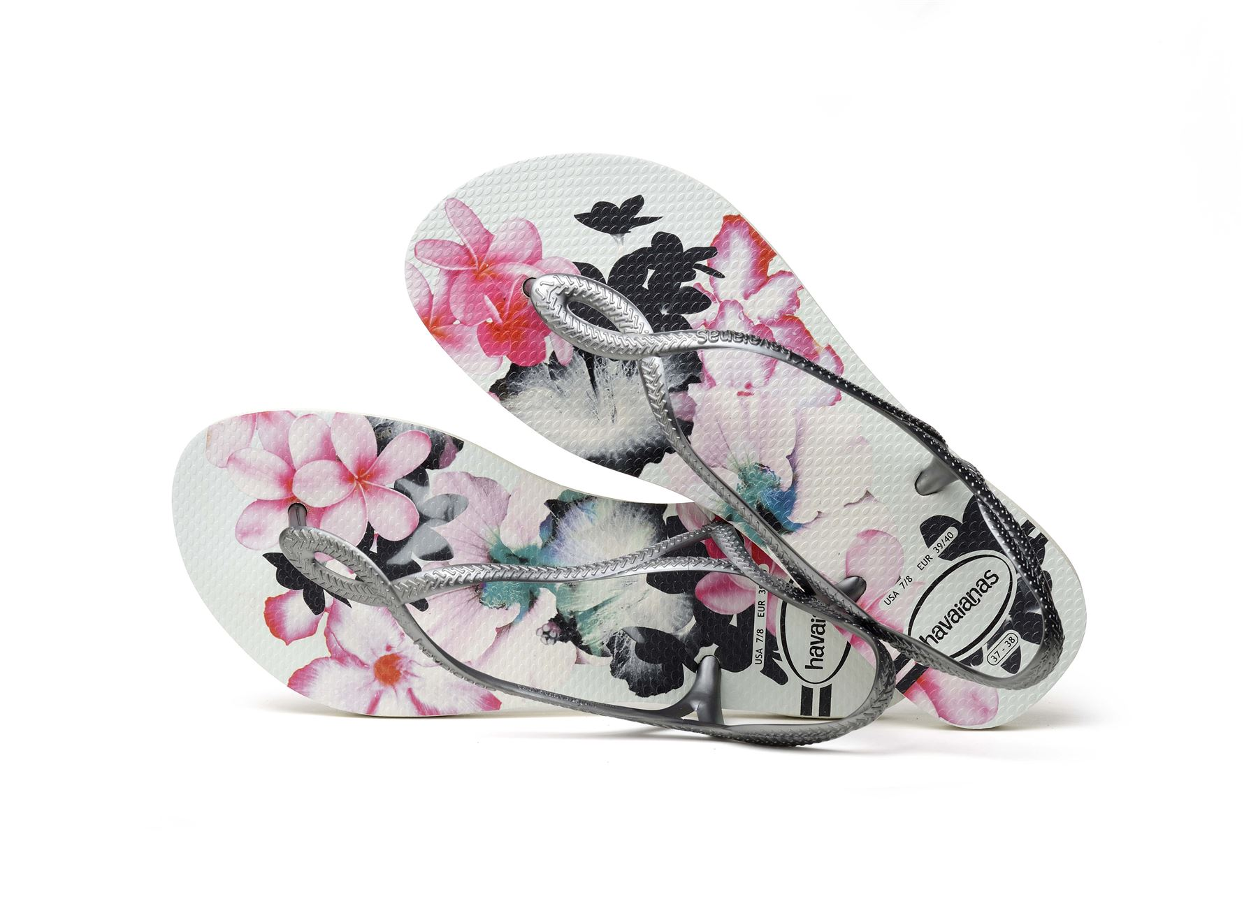 6be58e6b3 Havaianas Luna Floral Print Flip Flops Beach Pool Sling Back Strap ...