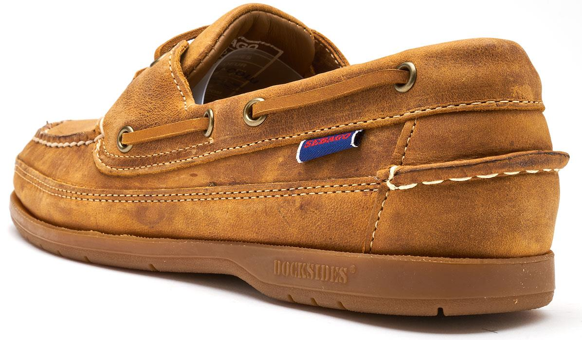 Sebago-Schooner-FGL-Waxed-Leather-Boat-Deck-Shoes-in-Brown-amp-Navy-Blue thumbnail 4
