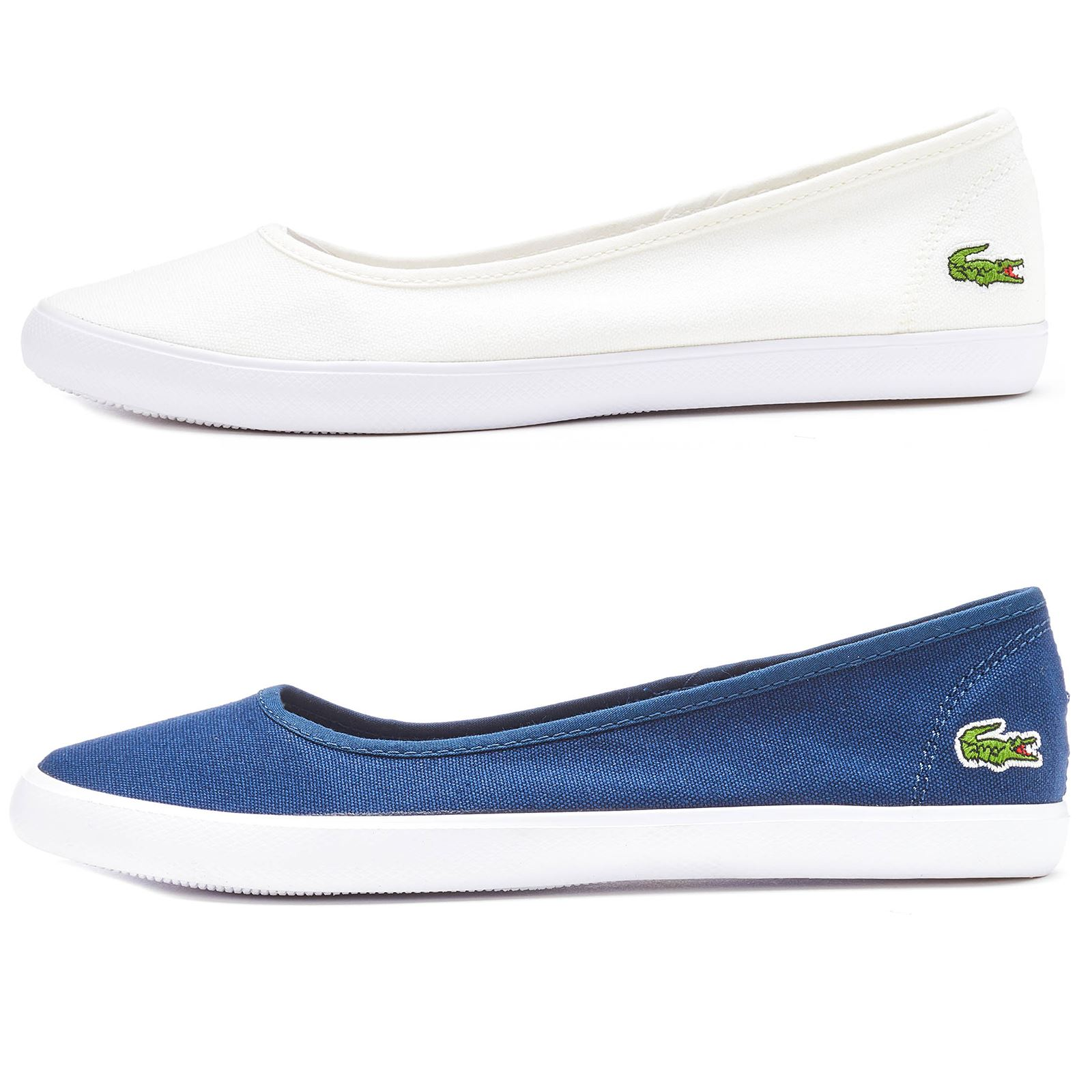 b8a68bda62ea40 Lacoste Marthe BL 1 SPW Slip Ons Women Trainers in White   Navy Blue  732SPW0143
