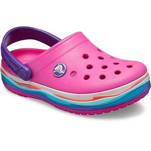 Crocs-Kids-Crocband-Rainbow-Wavy-Sequin-Relaxed-Fit-Clogs-Shoes-Pink-Blue-Orange thumbnail 25