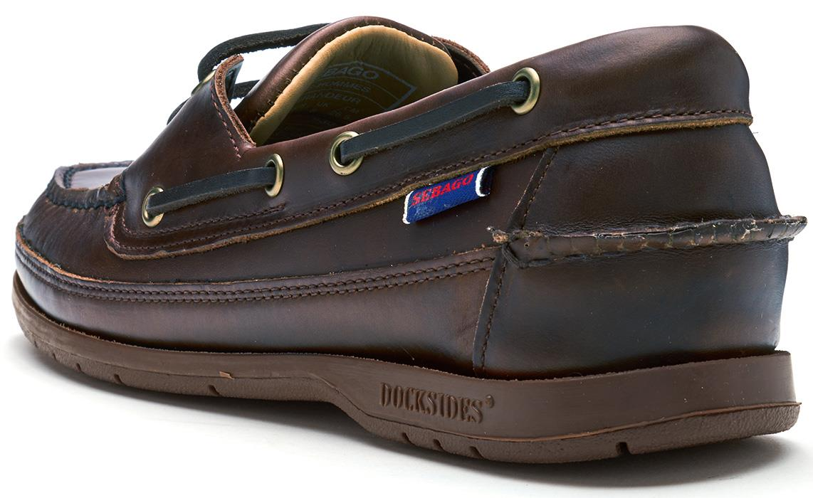 Sebago-Schooner-FGL-Waxed-Leather-Boat-Deck-Shoes-in-Brown-amp-Navy-Blue thumbnail 8