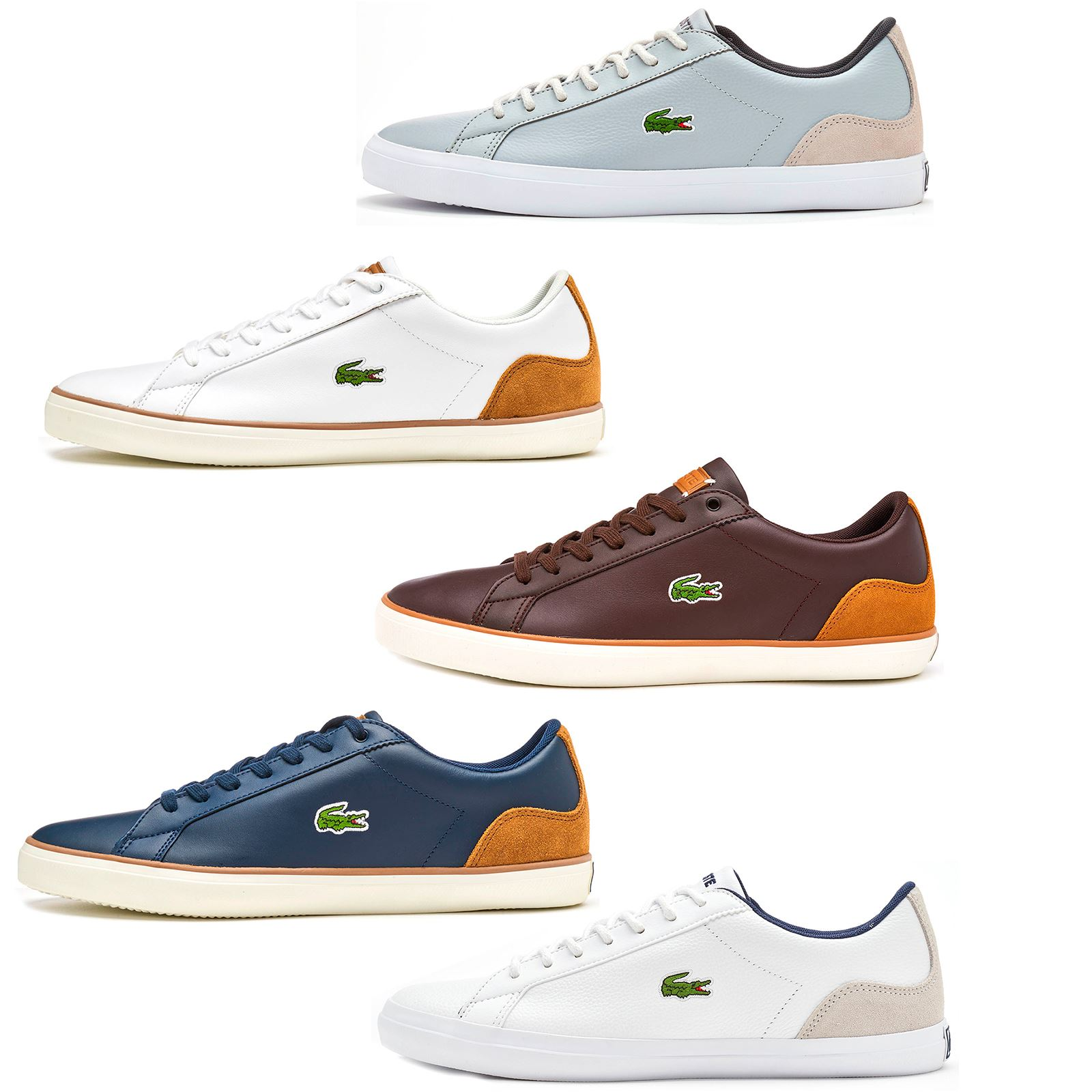 Lacoste Lerond 118 1 CAM Trainers in Navy Blue   White   Brown in All Sizes cc95160c2