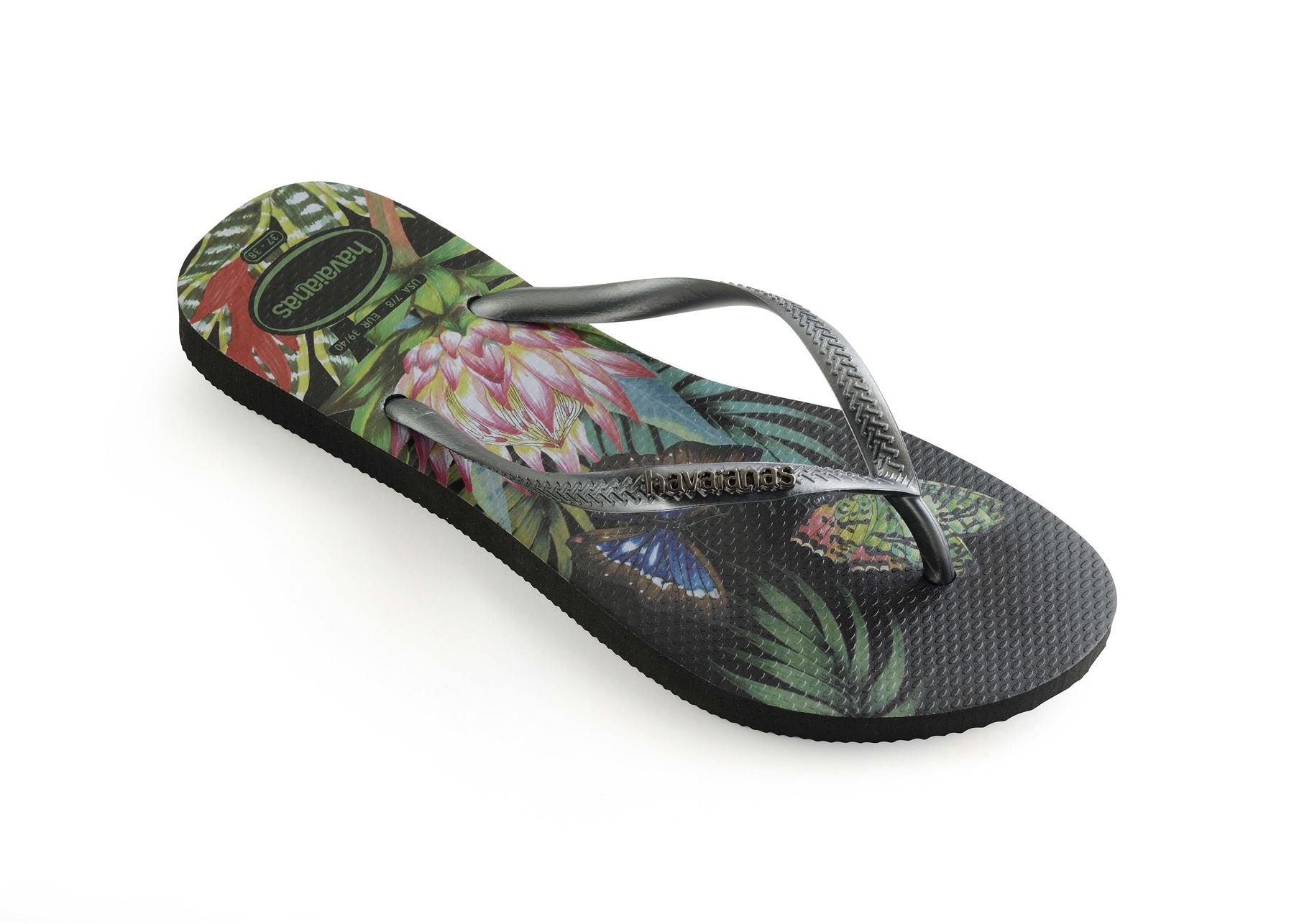 Havaianas-Slim-Tropical-amp-Imprime-Floral-Tongs-Ete-Plage-Piscine-Sandales miniature 4