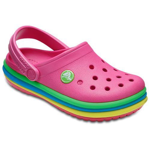 Crocs-Kids-Crocband-Rainbow-Wavy-Sequin-Relaxed-Fit-Clogs-Shoes-Pink-Blue-Orange thumbnail 13