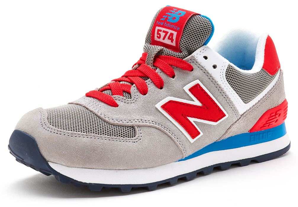 104a577bb5105 New Balance 574 Suede Trainers in Grey, Red & Blue WL574 MON   eBay