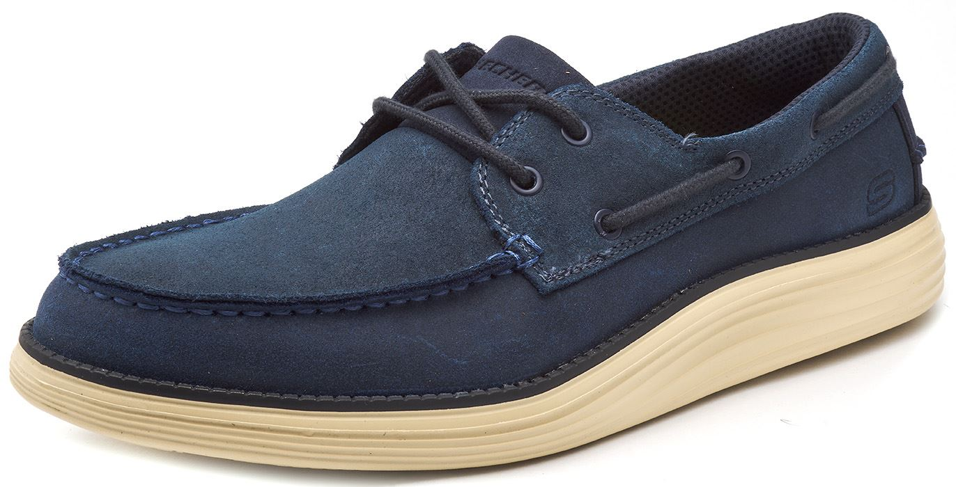 Skechers-Status-Former-Oiled-Leather-Boat-Deck-Shoes-in-Navy-Blue-amp-Brown-65894 thumbnail 7