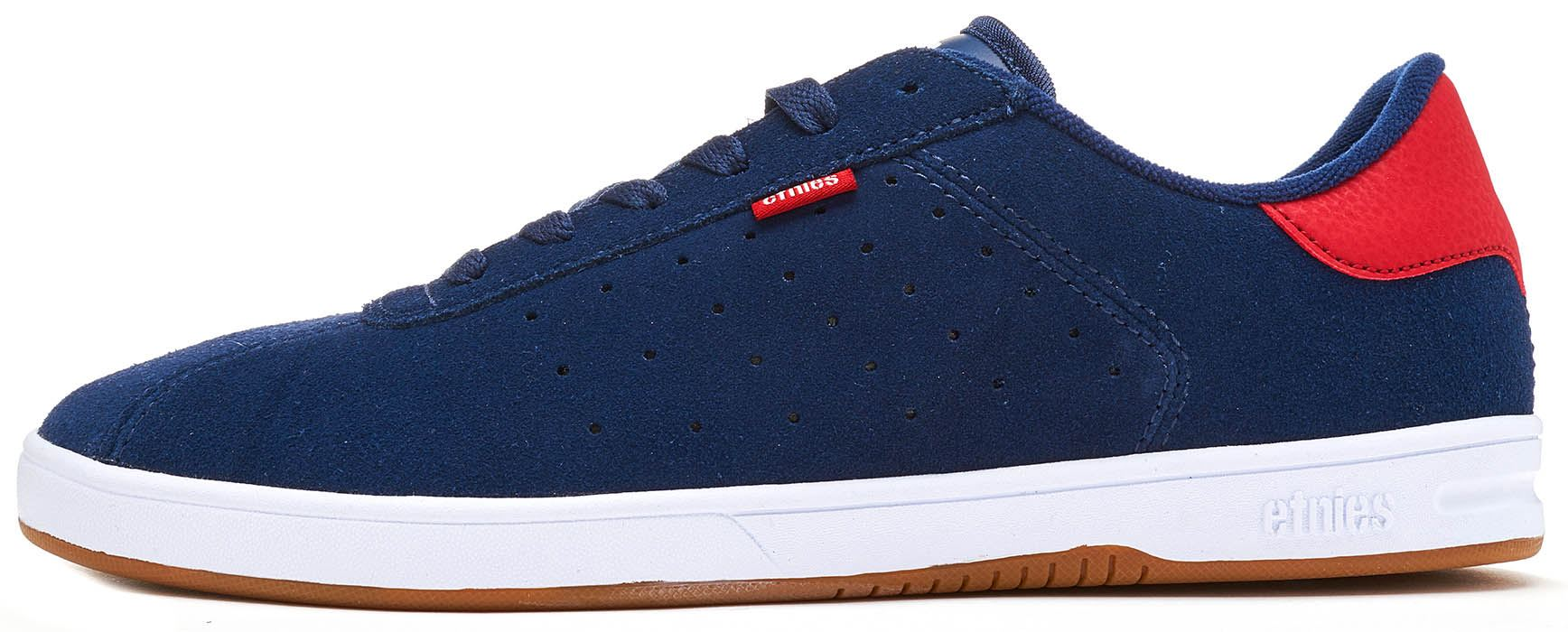 0ffe099ef8 Details about Etnies The Scam Suede Vintage Skate Trainers in Navy Blue &  Red 4101000462 465