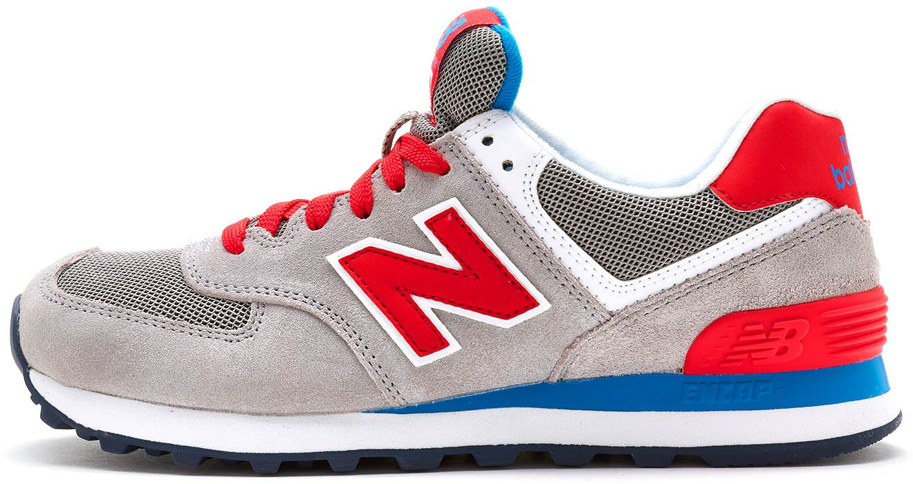 super popular bcf6a e927d Details about New Balance 574 Suede Trainers in Grey, Red & Blue WL574 MON
