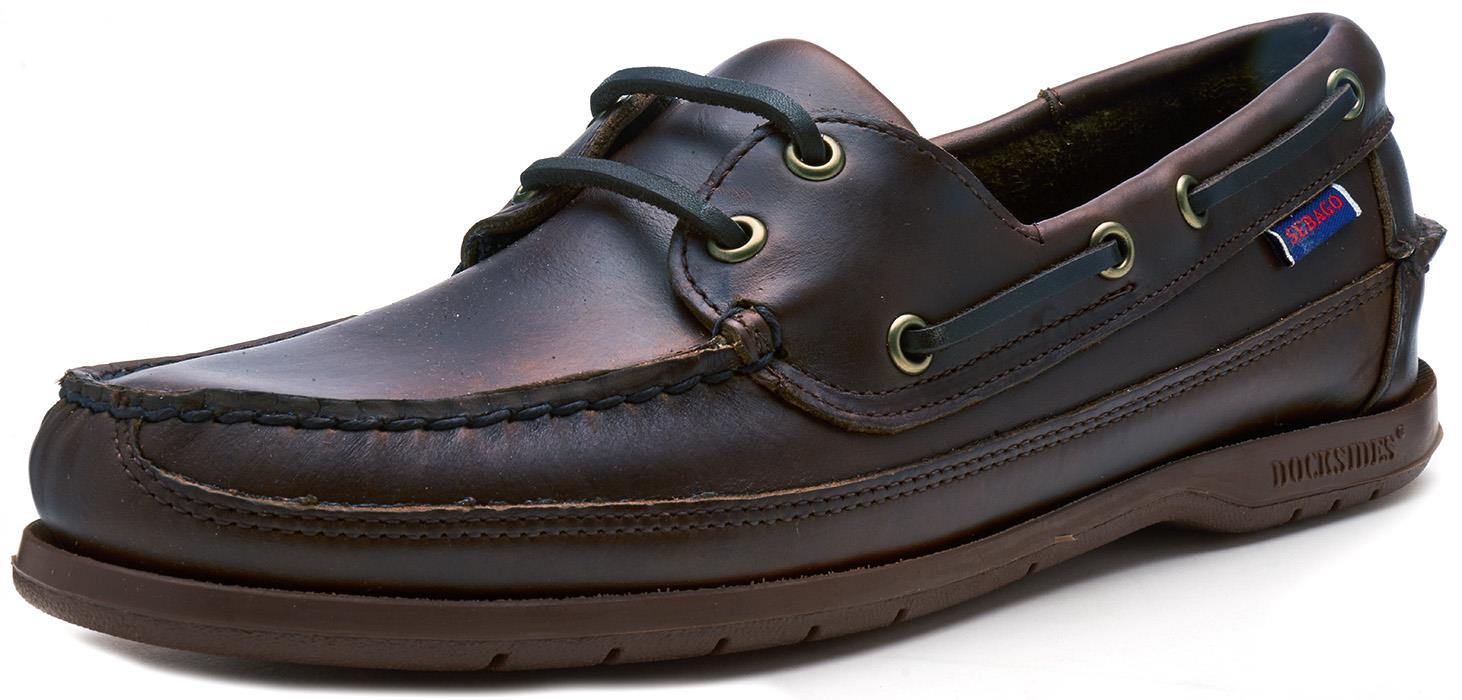 Sebago-Schooner-FGL-Waxed-Leather-Boat-Deck-Shoes-in-Brown-amp-Navy-Blue thumbnail 7