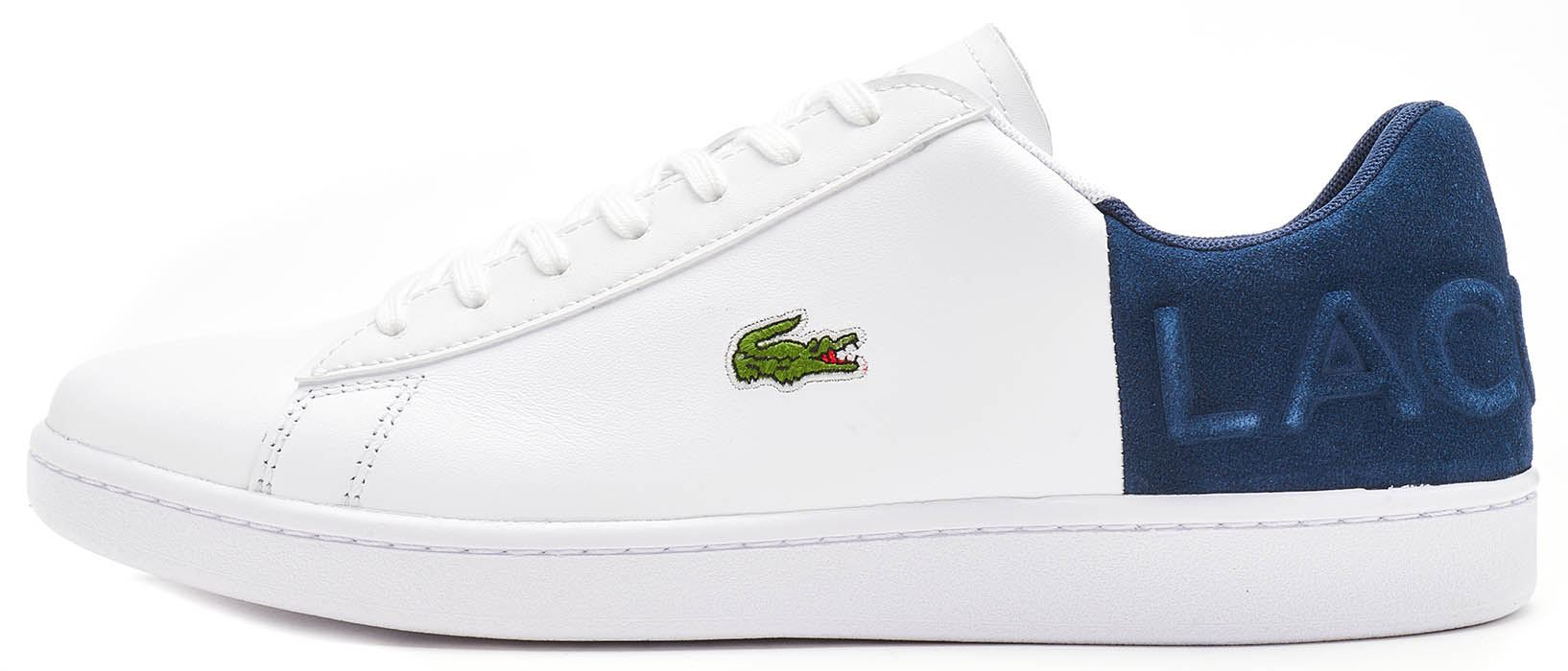 709e9046679ce Description A timeless Lacoste court shoe presented in a classic colour  palette. Leather and suede uppers feature a new  Lacoste  embossed heel  pattern and ...