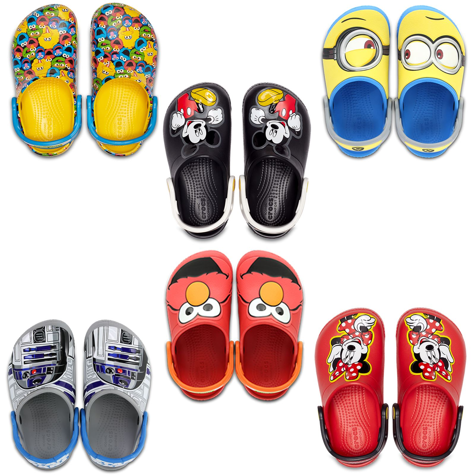 23a5f34617 Crocs Kids Fun Lab Star Wars Lights R2D2   Sesame Street Elmo Roomy Fit  Sandals