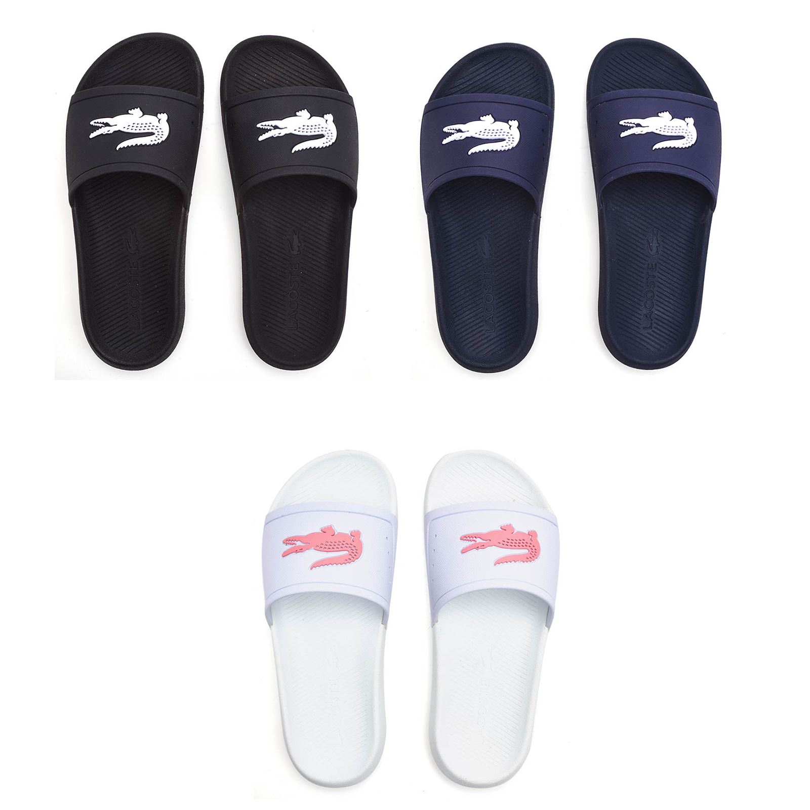 4eb3c010fef9 Details about Lacoste Croco Slide 119 3 CFA Pool Beach Slip On Sandals in  White